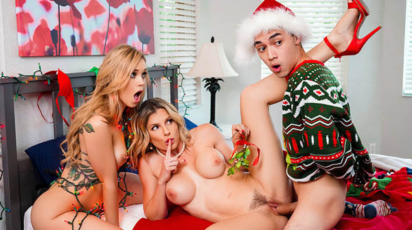 Cory Chase and Kali Roses Keep The Xmas Lights Tied On at Moms Bang Teens!